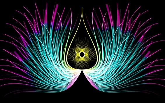 Wallpaper Abstract feathers, symmetry lines, wings, black background
