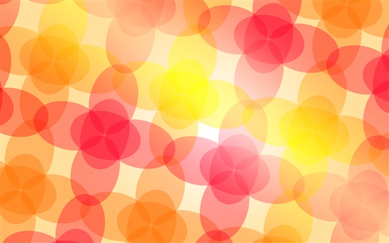 Wallpaper Abstract flowers, red pink yellow