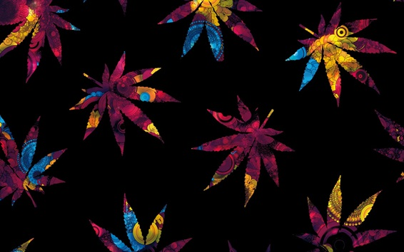 Wallpaper Abstract maple leaves, colorful, black background