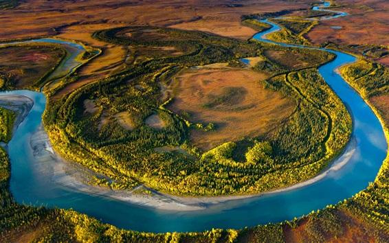 Papéis de Parede Alaska, ártico, nacional, parque, EUA, natureza, árvores, Rio
