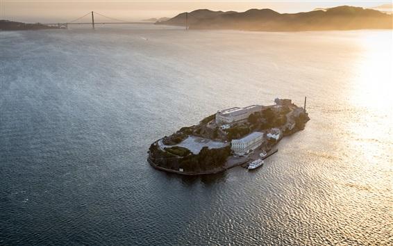 Wallpaper Alcatraz, prison, island, san francisco, sea, USA