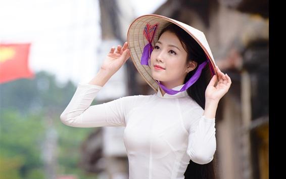 Обои Азиатская девушка, шляпа, белое платье