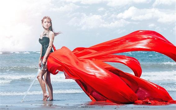 Wallpaper Asian girl, sea, sword, red dress