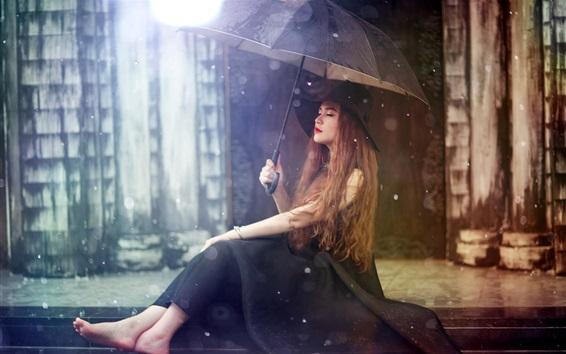 Wallpaper Asian girl sit down, umbrella, rainy