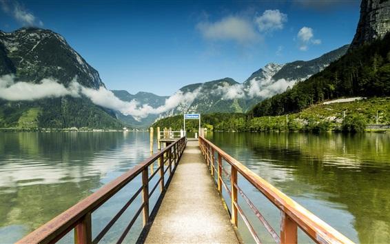 Wallpaper Austria, Hallstatt, pier, lake, mountains, clouds, rocks