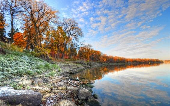배경 화면 가을, 호수, 나무, 돌