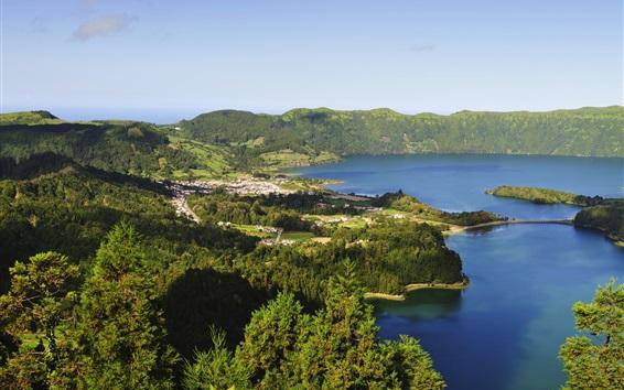 Fond d'écran Açores, Portugal, lac, montagne, forêt