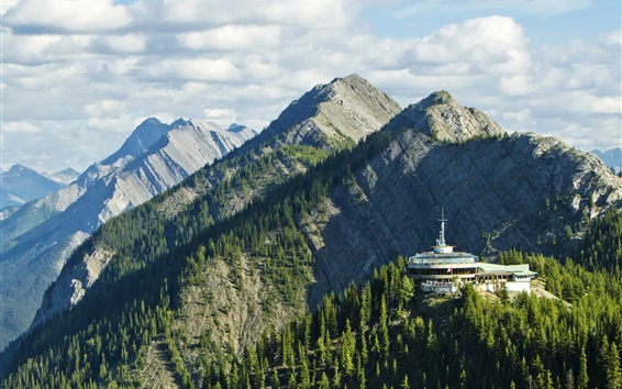 Wallpaper Banff National Park, mountains, clouds, trees, Alberta, Canada