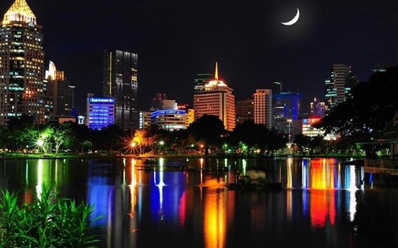 Wallpaper Bangkok, Thailand, city night, buildings, houses, lights, lake, night