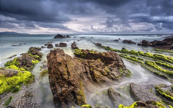 Fond d'écran Barrika, Espagne, mer, roches, nuages, été