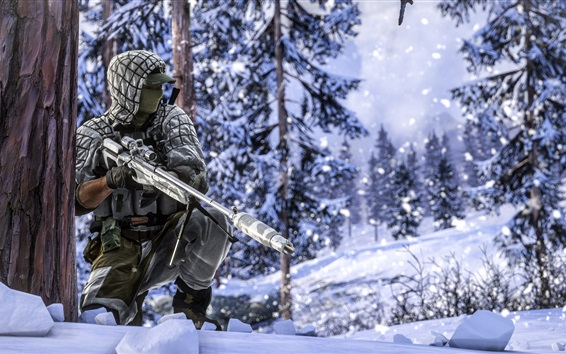 Wallpaper Battlefield 4, soldiers, sniper, winter, snow