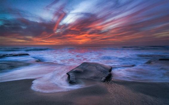 Обои Пляж, волны, море, вечер, облака, закат