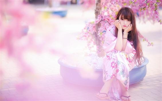 Wallpaper Beautiful Japanese girl, kimono, pink sakura, spring
