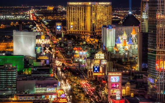 Wallpaper Beautiful Las Vegas city night, illumination, lights, USA