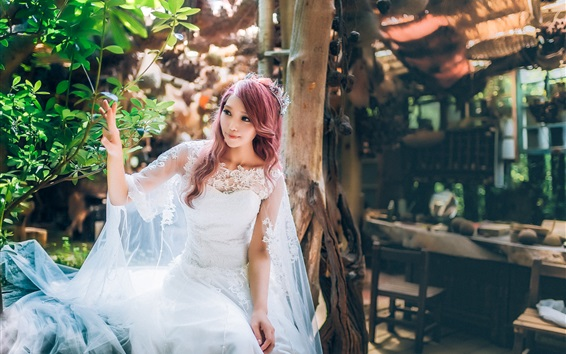 Wallpaper Beautiful bride, Asian girl, white dress, red haired