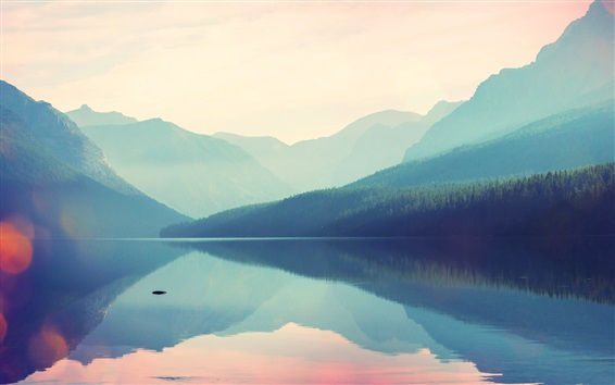 Wallpaper Beautiful nature landscape, mountains, lake, fog, water reflection