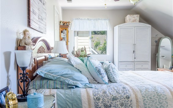 Обои Спальня, кровать, подушка