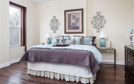 Wallpaper Bedroom, bed, wine, lamp