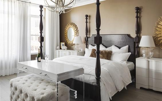 배경 화면 침실, 흰색 스타일