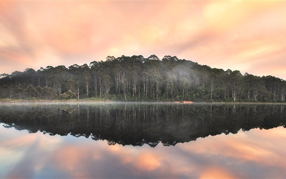 Fondos de pantalla Beedelup lago, Karri bosque, Australia, la reflexión del agua, puesta de sol