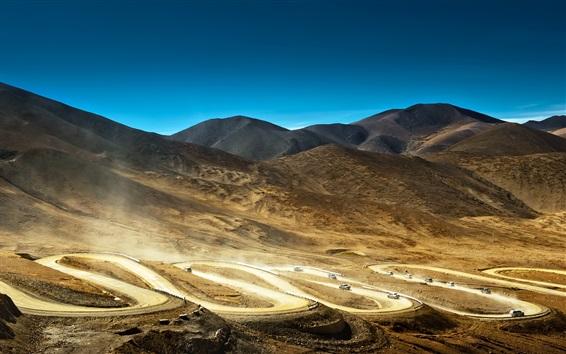 Papéis de Parede Bends estrada, carros, deserto, montanhas