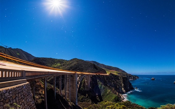 Wallpaper Big Sur, Bixby Bridge, Pacific Ocean, coast, blue sky, California, USA