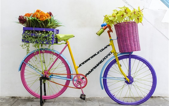 Papéis de Parede Bicicleta e flores