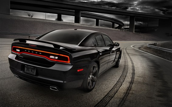 Wallpaper Black Dodge car rear view