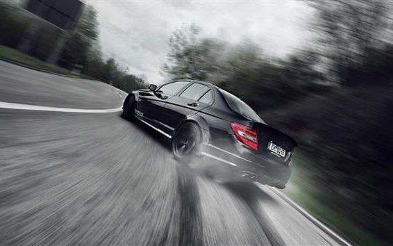 Fondos de pantalla Negro coche vista trasera, velocidad, carretera