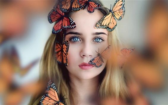 Wallpaper Blonde girl and butterflies