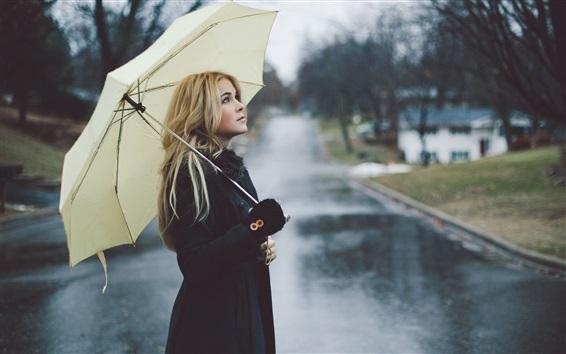 Wallpaper Blonde girl, rain, umbrella, street
