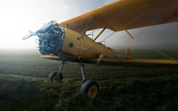 Wallpaper Boeing PT-27 Kaydet, aircraft, field, fog