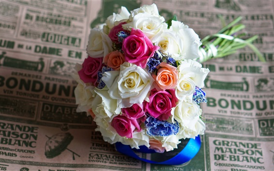 Wallpaper Bouquets, colorful roses