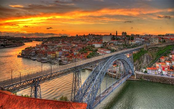 Обои Мост Луис, Португалия, река, сумерки, город, облака, закат