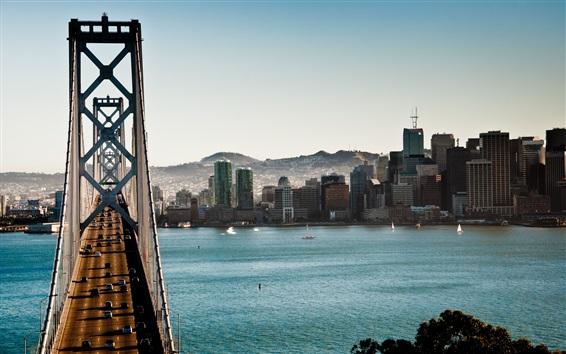 Wallpaper Bridge, cars, river, city, San Francisco, USA