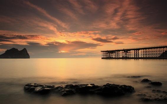 Wallpaper Bridge, pier, sea, stones, dusk
