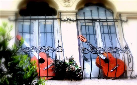 Fondos de pantalla Guitarra rota, balcón