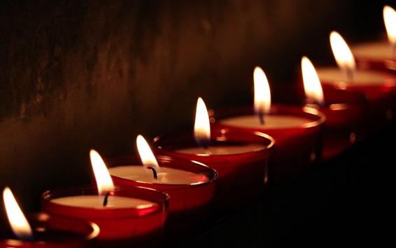 Wallpaper Candles, fire, flame, black background