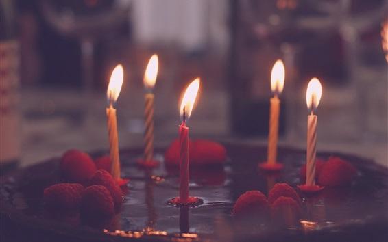Обои Свечи, пламя, огонь, торт