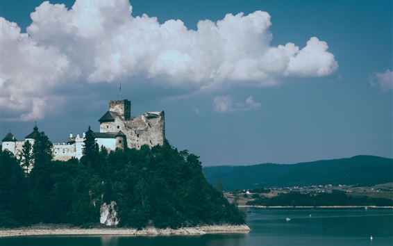 Wallpaper Castle, sea, clouds