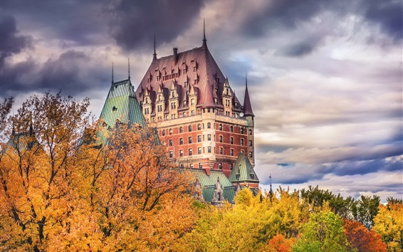 Wallpaper Chateau Frontenac, Canada, autumn, trees, clouds