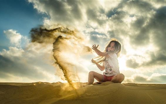 Papéis de Parede Criança, menina, jogar areias, sol
