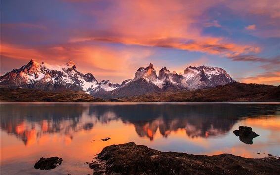 Wallpaper Chile, Patagonia, Andes mountains, lake, sunset