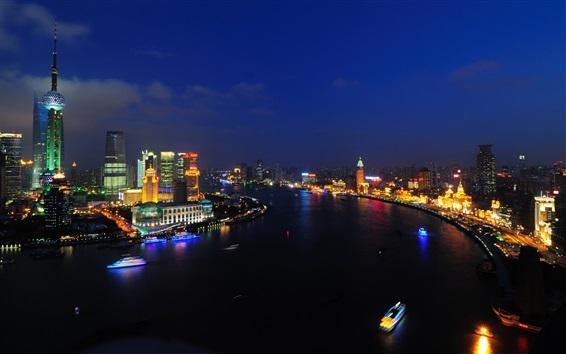 Wallpaper China city, Shanghai, night, river, boats, skyscrapers, lights