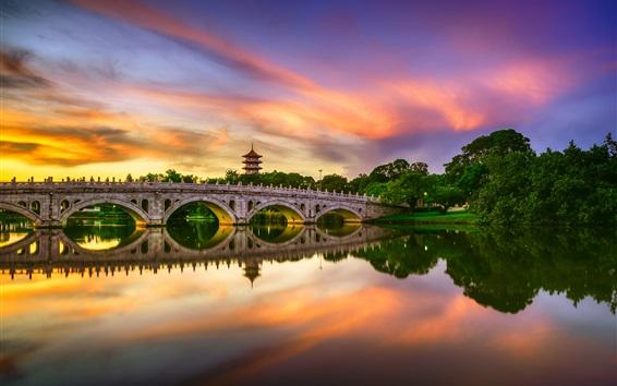 Wallpaper Chinese Garden, lake, bridge, water reflection, clouds, sunset, Singapore