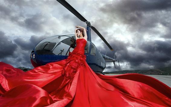 배경 화면 중국 소녀, 빨간 드레스, 헬리콥터