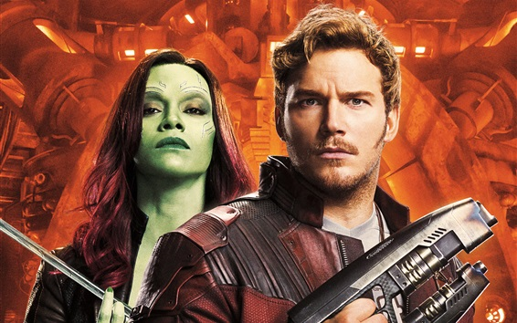 Wallpaper Chris Pratt, Zoe Saldana, Guardians of the Galaxy 2