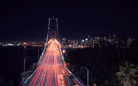 Fond d'écran Pont de la ville, San Francisco, route, lignes lumineuses, nuit, bâtiments, États-Unis