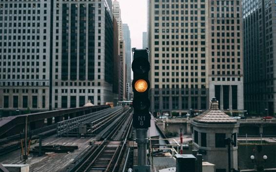 Papéis de Parede Cidade, trânsito, luzes, arranha-céus