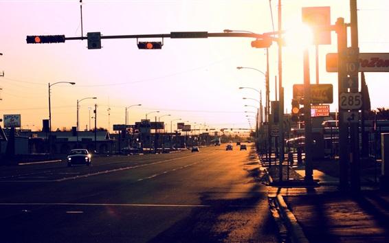 Обои Город, дорога, автомобили, транспорт, солнечный свет